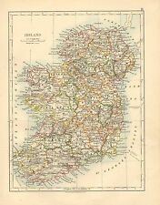 1892 VICTORIAN MAP ~ IRELAND ~ LIMERICK WEXFORD KERRY MAYO DONEGAL DOWN CORK etc