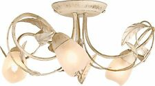 Decorative Leaf Design Elana 3 Light Ceiling Fitting - Cream and Brushed Gold