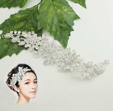 New Women Handmade DIY Stunning Clear Rhinestone & Silver Plated  Applique