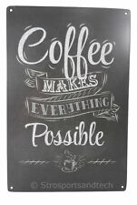 Coffee Everything Possible Tin Sign Cafe Garage Wall Decor Retro Metal Vintage