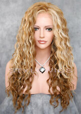 Light Brown & Blonde Mix Long HEAT OK Curly Lace Front Synthetic Wig ABAU 2216