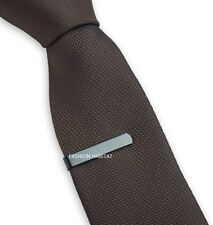 Mens Boys Grey 3CM Tie Bar -Skinny Stainless Steel Clip- Black Wedding Clasp Pin