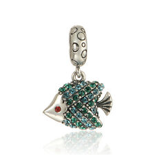 BLUE & GREEN CRYSTAL FISH DANGLE.925 Sterling Silver European Charm Bead