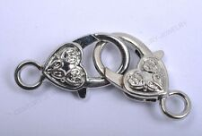 4pcs Heart Shape Flower Lobster Clasp Hook End Connectors Finding Charms 26MM