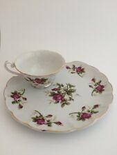 Vintage Handpainted Lefton China Snack Plate & Tea Cup Set Pink Rose Floral