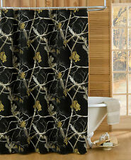 REALTREE AP BLACK CAMOUFLAGE SHOWER CURTAIN - CAMO BATHROOM ACCESSORIES