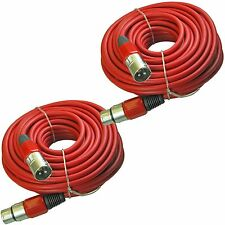 2 RED MALE to FEMALE 3pin XLR powered speaker cable 100 ft foot 30m meter lead