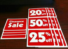 Clearance Sale and Percentage % Off Sign Bundle - 16 Signs