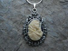 VIRGIN MARY/BABY JESUS - MOTHER AND BABY CAMEO NECKLACE! (cream/black)--GIFTS!!!