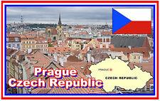 PRAGUE, CZECH REPUBLIC MAP & FLAG - SOUVENIR FRIDGE MAGNET - BRAND NEW - GIFT
