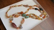 VINTAGE MULTI COLOR GEM SEMI PRECIOUS STONES NECKLACE