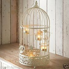 LARGE VINTAGE CREAM BIRD CAGE LANTERN WEDDING GIFT TEALIGHT HOLDER CANDLE HOLDER