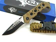 COLT Desert Tactical TITANIUM Folder Knife + Paracord Survival Bracelet! CT527