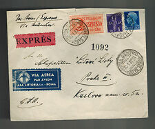 1937 Rome Italy Express Mail cover to Prague Czechoslovakia Stamp Dealer