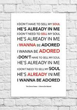 The Stone Roses - I Wanna Be Adored - Song Lyric Art Poster - A4 Size