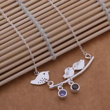 N5 925 Silver Plated Three Birds on Branch Pendant Necklace - Gift Boxed