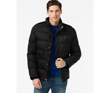NWT Men's Tommy Hilfiger Black Quilted Puffer Jacket Zipper Snap Close XL $195
