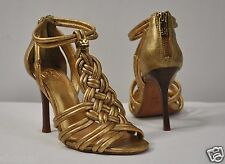 Tory Burch 'Constance' Woven Straps High Heel Sandals NWB sz 6 Gold Leather $480