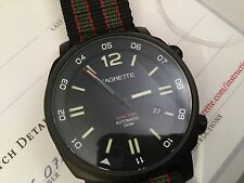 Magrette Dual Time PVD GMT Automatic Watch Sapphire Crystal 44mm 2x Straps NEW