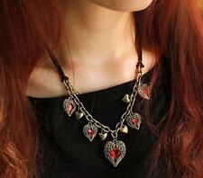 RETRO LOVE ANGEL HEART RUBY NECKLACE