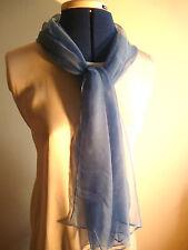 100% silk floaty chiffon scarf Mid blue   NEW