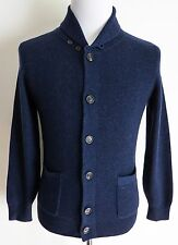 $2360 BRUNELLO CUCINELLI Blue 2Ply English Rib Cashmere Cardigan Sweater 58 Euro