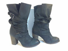 magnificent ALDO black leather pull on wrap around buckle boots 6 1/2