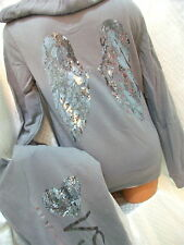 victoria secret SUPERMODEL ESSENTIALS BLING SEQUINS HOODIE & SWEATPANTS NWT! M/S
