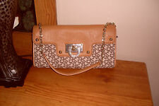 NWT DKNY Canvas & Leather T&C W/D Hardware Chino-Tan Shoulder Bag Clutch $145