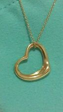 TIFFANY & CO. 18K YELLOW GOLD ELSA PERETTI OPEN HEART 22mm PENDANT/ NECKLACE