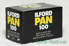3 rolls ILFORD PAN 100 Black and White Film 35mm 36exp FREESHIP