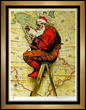 Norman Rockwell Saturday Evening Post Lithograph Santa Claus Large Signed Art