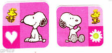"""1.5"""" SNOOPY & WOODSTOCK FLOWER HEART SET  FABRIC APPLIQUE IRON ON CHARACTER"""