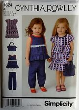 SIMPLICITY PATTERN 1624 Toddler Girls Dress Top Ruffles Pants Bag  Sz 1/2 - 4