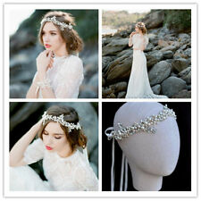 Wedding Bridal Crystal Pearl Hair Accessories Ribbon Headband Tiara Jewelry Band