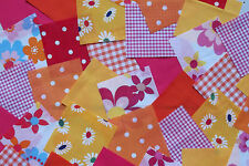 "100 x 4"" Fabric Remnant Bundle patchwork squares~Bright Collection~Craft"