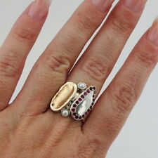 Hadar Designers Handmade 9k Yellow Gold 925 Silver Ruby Pearl Ring any sz (I) y