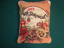 "VTG IMPERIAL ELEGANCE NEEDLEPOINT PILLOW CALIFORNIA SEED 12"" x 15 complete Form"