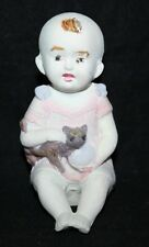 "Vintage Bisque Piano Baby - 4 1/2"" Girl with Cat"