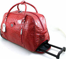 WOMENS LYDC LUGGAGE MOCK CROCK WHEELED TRAVEL HOLDALL CABIN TROLLEY CASE BAG RED