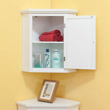 Corner Wall Cabinet Bathroom Hanging White Cupboard Door Storage Room Furniture
