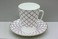 Cup and Saucer ROSE NET, bone china, LOMONOSOV /IMPERIAL PORCELAIN, Russia