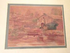 quality original signed LAB landscape farm horse watercolor painting country