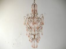 ~c 1920 French Pink Opaline Drops & Beaded Swags Crystal Prisms Chandelier~