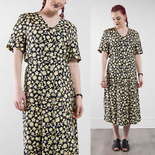 VINTAGE 90'S FLORAL PATTERN MIDI LENGTH TEA DAY DRESS CASUAL NINETIES SUMMER 16