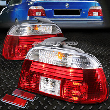 CHROME HOUSING RED REAR BRAKE+SIGNAL TAIL LIGHT FOR 97-00 BMW E39 5-SERIES 4DR