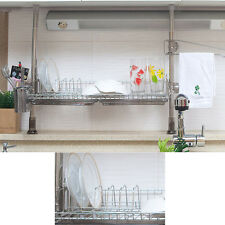 Stainless Pillar 1 Tiers Dish Drying Rack Drainer Dryer Tray Kitchen Organizer