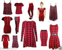 Women Red Tartan Check Print Swing Skater Dress Vest Top Skirt Leggings Plus S..