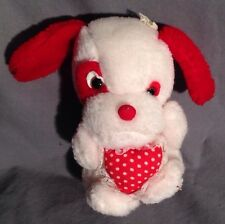 """White & Red ANIMAL TOYS PLUS Puppy Plush with Heart 6.5"""" Tall"""