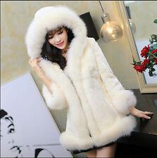 Women Winter Warm Outwear Long Fur Coat Hooded Fluffy Plush Elegant Slim Jacket